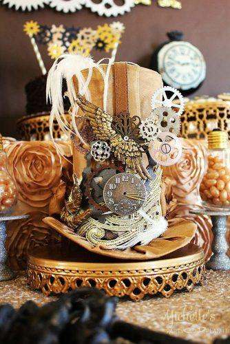 steampunk wedding decorations hat centerpiece michellespartyplanit