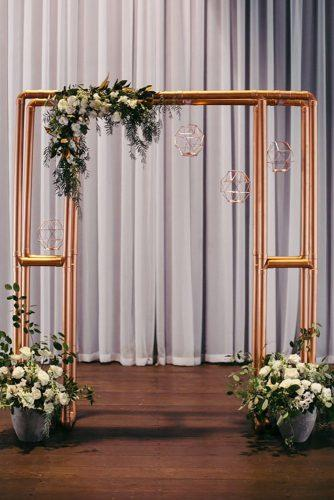 steampunk wedding decorations metal arch Duuet Photography