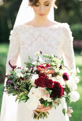 wedding bouquets 2019 bouquet with burgundy accent Rebecca Arthurs