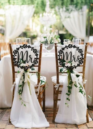 wedding chair decorations chairs with sign WoodenPageGifts