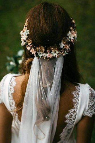 wedding hairstyles 2019 half up half down with flower halo and veil jfkimagensocial