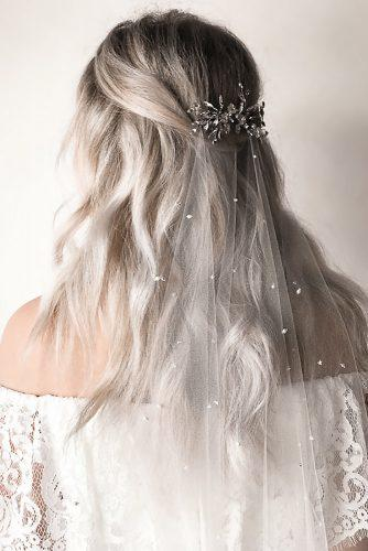 wedding hairstyles 2019 half up half down with silver hairpin and veil untamedpetals