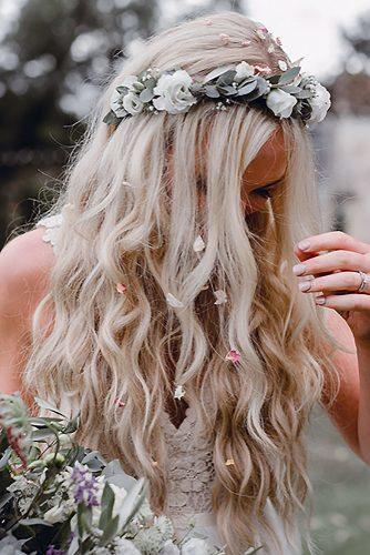 wedding hairstyles 2019 loose blonde hair with flowers and flower crown adamandgracephoto