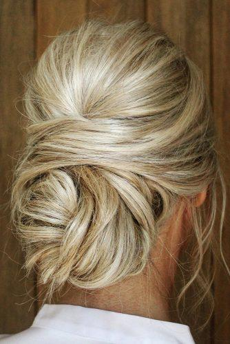 wedding hairstyles 2019 messy swept low chignon theupdogirl