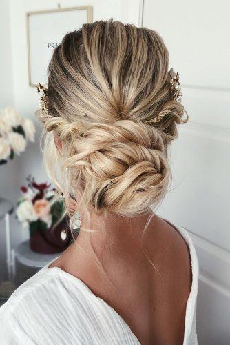 wedding hairstyles 2019 simple low swept bun with halo on blonde hair caraclynebridal