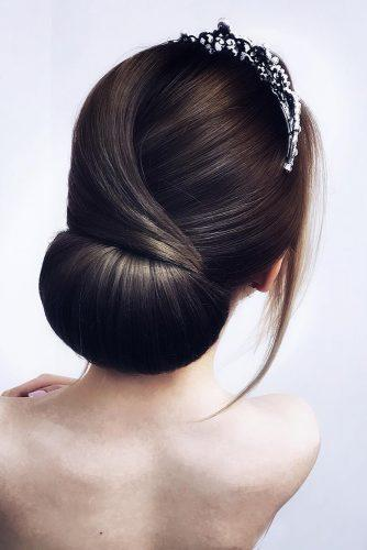 wedding hairstyles 2019 sleek bridal chignon on dark medium hair hairstyle_by_elena_demchenko