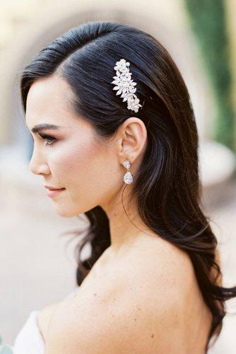 wedding hairstyles 2019 sleek medium dark hair wirg side accessorie joshua aull photography
