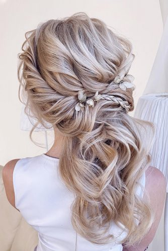 wedding hairstyles 2019 swept half up half down with braids xenia_stylist