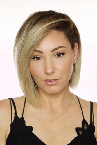 wedding hairstyles smooth side sweep blonde bob chloenbrown