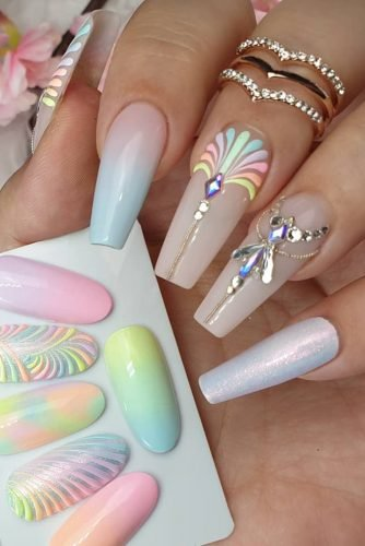 wedding nails 2019 bright rainbow ombre boho design with rhinestones nailarts.irina.markova