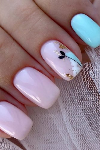 wedding nails 2019 light pink blue design with flower flower_nails