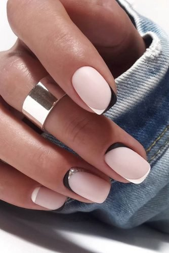 wedding nails 2019 minimalist black white french nails elina.nails.art