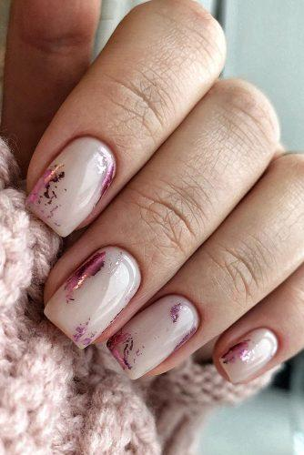wedding nails 2019 nude pink with bright pink foil nuanail