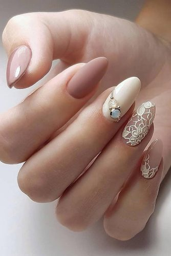 wedding nails 2019 nude with lace matte and rhinestones evgeniya__nails