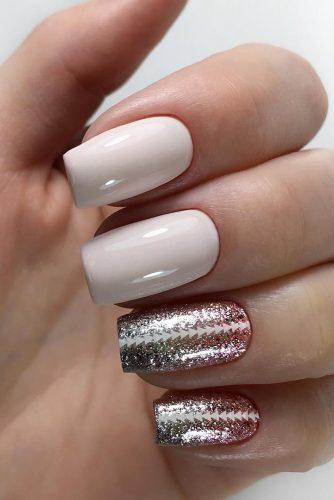 wedding nails 2019 nude with ombre gold sharkles dve_soroki