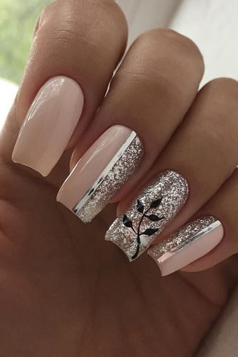 wedding nails 2019 pink design with flowers and glitter tanyachentsova
