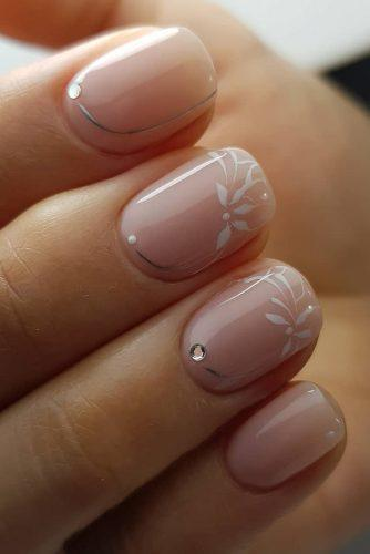 wedding nails 2019 pink white flowers silver rhinestones kangannynails