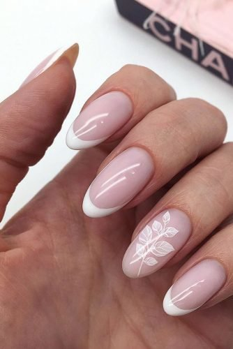 wedding nails 2019 pink white french with branch id_nails_space