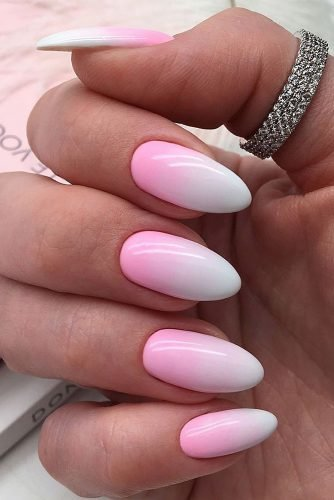 wedding nails 2019 pink white ombre nails id_nails_space