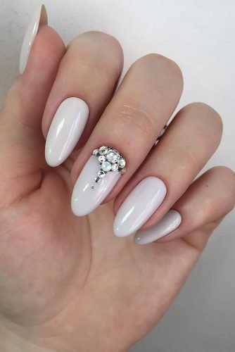 wedding nails 2019 white light with rhinestones aleksa.nail