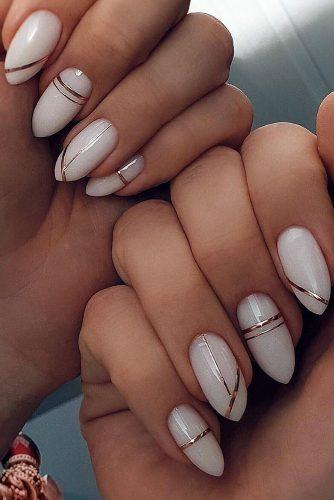 wedding nails 2019 white long with gold geometry safinailstudio