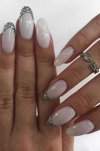 wedding nails 2019 white milk with silver rhinestones glebova.m.e