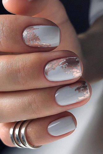 wedding nails 2019 white with bronze foil evaromnailart