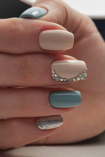 wedding nails 2019 with nude and pastel blue rhinestones victoria_nails_samara
