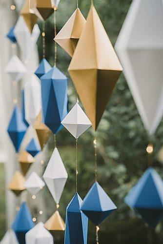 wedding themes colorful geometric decor