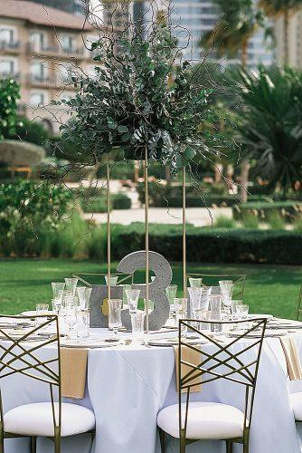wedding themes concrete table centrepiece