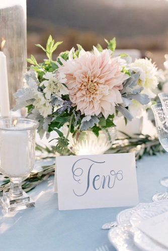 wedding trends 2019 bridal table centerpiece silver vase with blush pink dahlia flower gray leaves leliascarfiotti