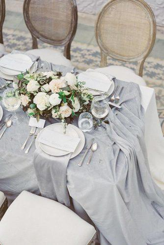 wedding trends 2019 bridal table grey tablecloth with white flower centerpiece laurenfair