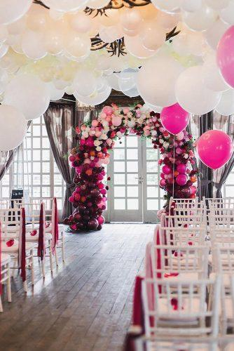 wedding trends 2019 ceremony decor with white red pink ballons arch lkphoto