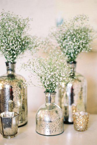 wedding trends 2019 gold and silver small vases with white baby breath especially amy