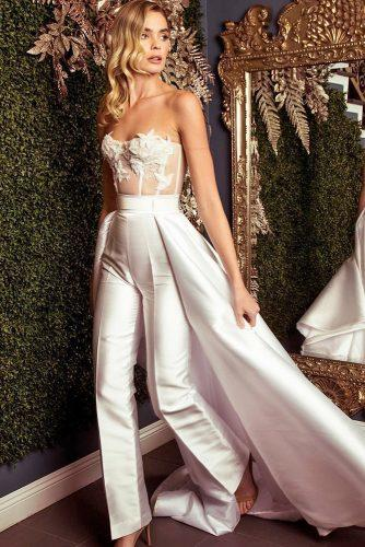wedding trends 2019 jumpsuit sweetheart strapless neckline with train galialahav