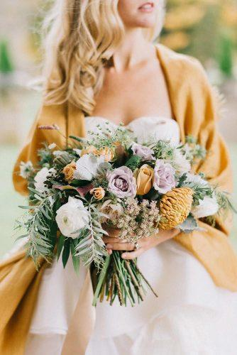 wedding trends 2019 mustard wedding pale lilac and white roses with greenery lindsay hackney