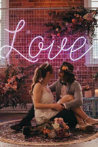wedding trends 2019 vintage boho styled photos with neon love theme neon sign wolfandwildflowerphotography