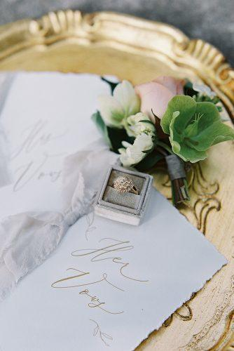 besame wedding styled shoot bride and groom's rose boutonniere gold round ring with stones carrie king photographer