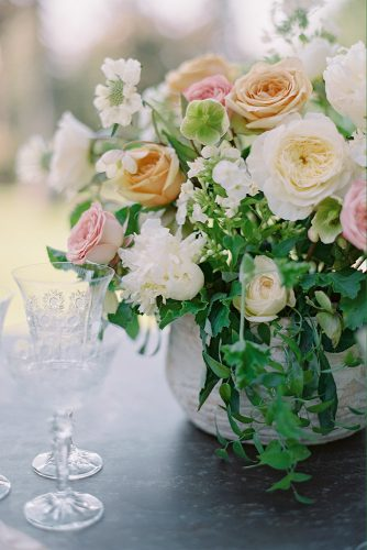besame wedding styled shoot peach pink white roses centerpiece carrie king photographer