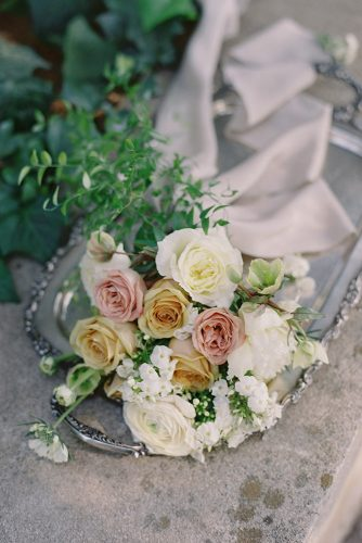 besame wedding styled shoot peach pink white roses flower bouquet with ribbons carrie king photographer