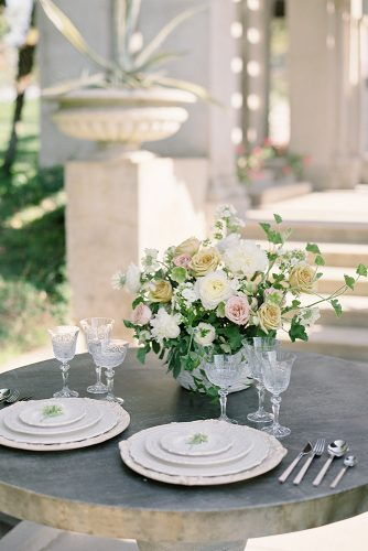 besame wedding styled shoot round small outdoor table with beige plates carrie and flower roses centerpiece king photographer
