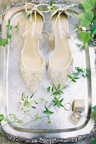 besame wedding styled shoot wedding shoes with crystal rings in a beige box carrie king photographer