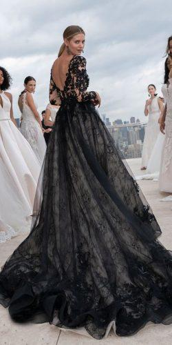 black wedding dresses ball gown low back with long sleeves full lace maggie sottero