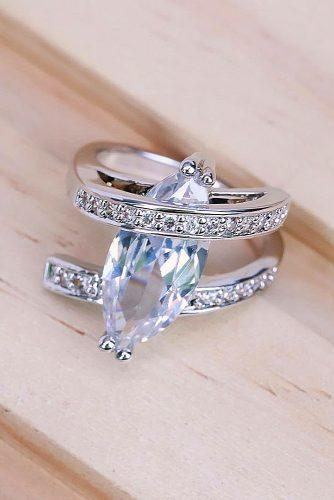 cheap engagement rings marquise cut gemstone silver unique