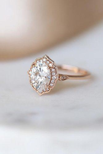 cheap engagement rings oval cut halo rose gold vintage