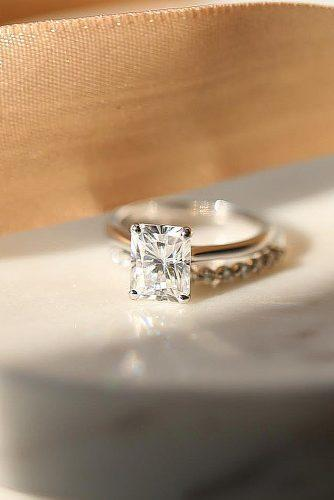 cheap engagement rings radiant cut solitaire simple moissanite