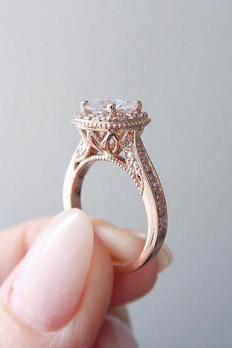 cheap engagement rings rose gold vintage moissanite