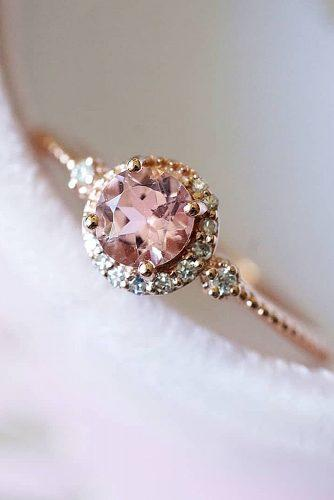 cheap engagement rings round cut halo vintage morganite