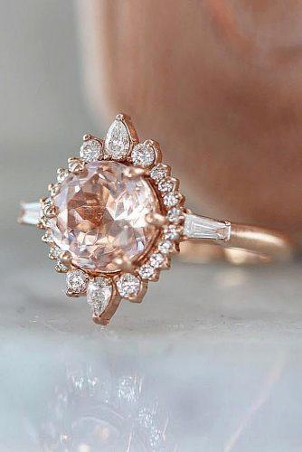 cheap engagement rings round cut unique halo morganite