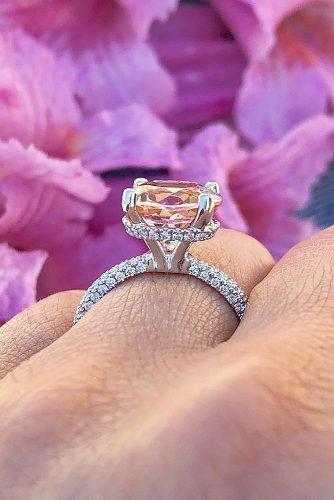 cheap engagement rings solitaire pave band cathedral morganite
